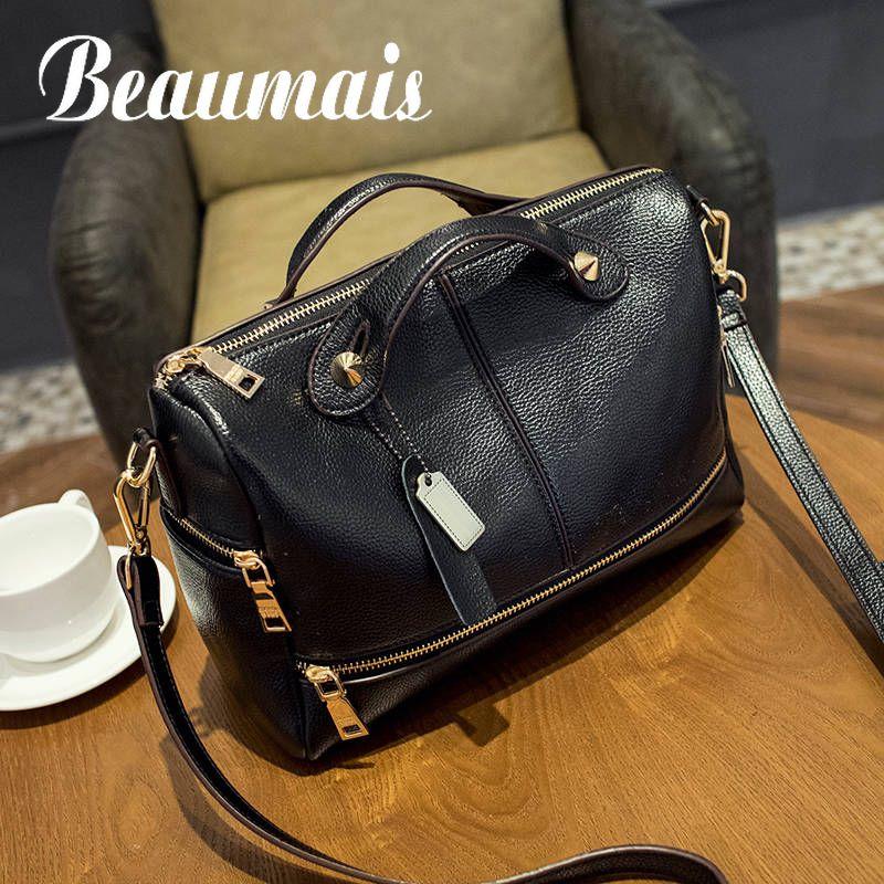 Beaumais 2017 Women Crossbody Shoulder Bag Splite Leather Handbags Fashion Woman Messenger Bag Tote Boston Bags