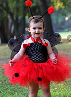 New Design Kids Halloween Birthday Summer Toddlers Party Animal Costume Miraculous Ladybug Black Polka Dots Dress