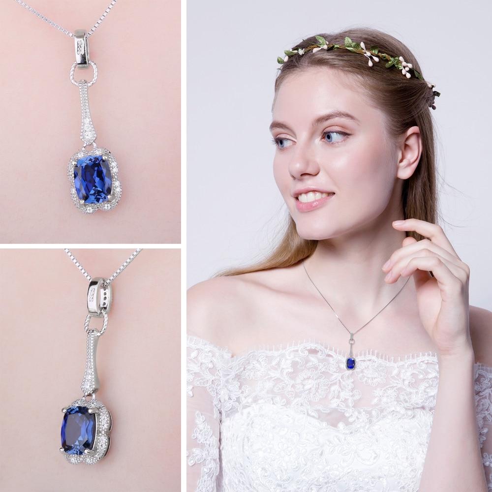 JewelryPalace Elegante rectángulo 2.9ct creado zafiro colgante 925 - Joyas - foto 3