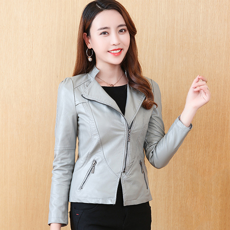Women Faux   Leather   Jacket Asymmetric Zipper Korean Style Female Sweet   Leather   Coat Outwear Slim Womens Coat
