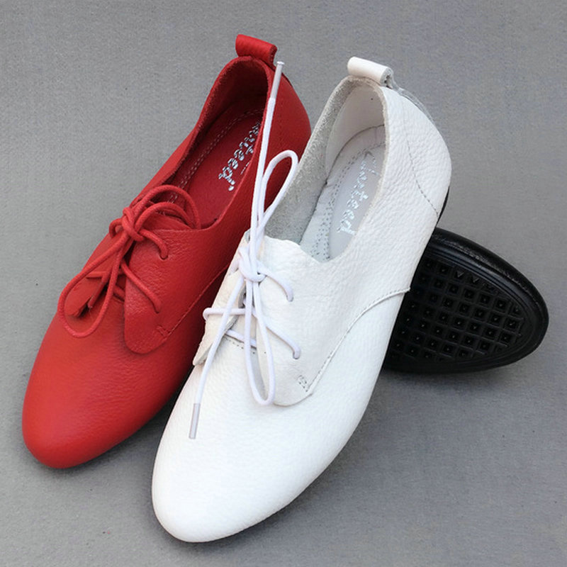 2017 Lady Shoes Genuine Leather Soft Summer Casual Flat Shoes Lace-Up Fashion Brand Shoes Comfortable Round Toe Black/Red/White front lace up casual ankle boots autumn vintage brown new booties flat genuine leather suede shoes round toe fall female fashion