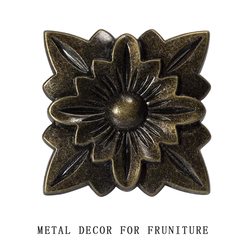 Flower Shape Furniture Metal Decorantion Plate For Legs And Door Frame Etc Antique Bronze Color Zinc Alloy Material Decor