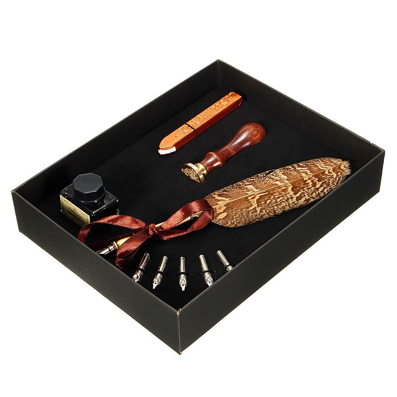 Kicute Black Retro Quill Feather Dip Pen Writing Ink Set Stationery Gift Box with 5 Nib Weax Gift Quill Pen Fountain Pen Set kicute retro goose feather quill pen metal nibs dip writing black ink set stationery gift box with 6 nib collectable supplies
