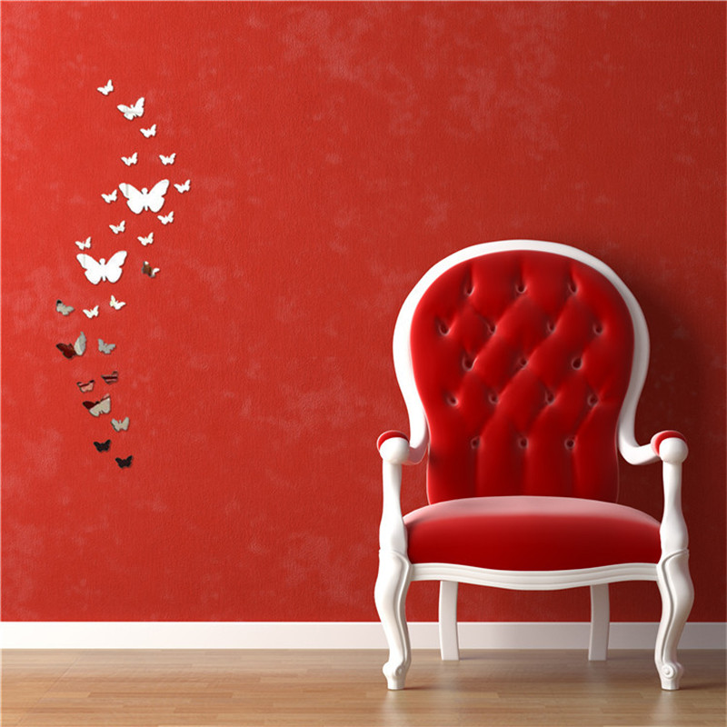 Pcs D Mirror Butterfly Wall Stickers Decal Wall Art Removable - Butterfly wall decals 3daliexpresscombuy d butterfly wall decor wall sticker