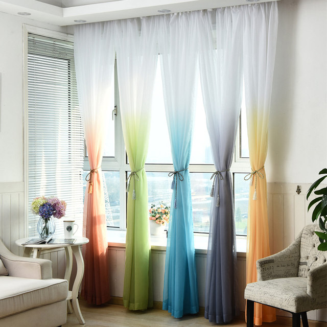 5 Gradient Color Cheap Solid Tulle Window Curtains For Kitchen Door Living Room Bedroom Sheer Voile Curtain Organza Yarn