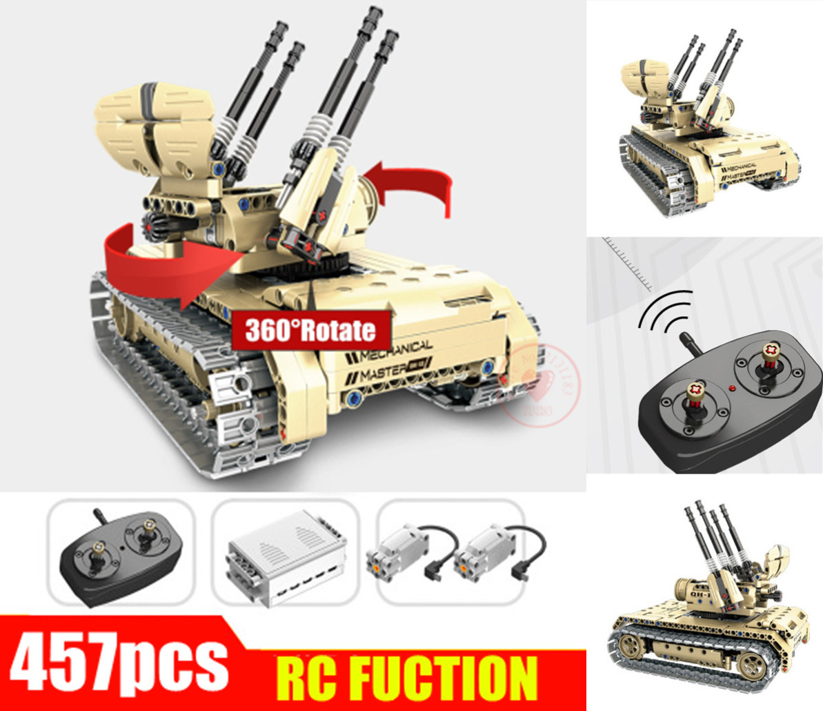 Remote Control Self-propelled Anti-aircraft Gun Tank 360 Rotate fit legoings technic Military RC car Building Block Bricks Toy peter block stewardship choosing service over self interest
