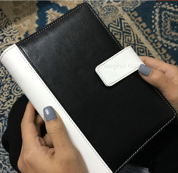 PU leather spiral loose leaf refillable travel journal organizer notebook filofax planner agenda notepad binder A6 black white creative hollow leather spiral notebook cute school agenda organizer binder diary planner travel journal filofax stationery a5a6