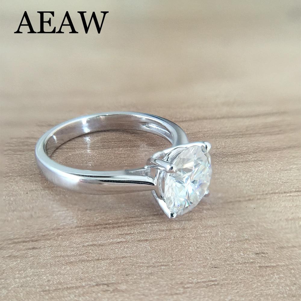 Chapado en platino plata DF 1.0ct 6,5mm corte redondo DF Moissanite anillo de compromiso anillo de aniversario anillo de Moissanite para mujeres-in Anillos from Joyería y accesorios    1