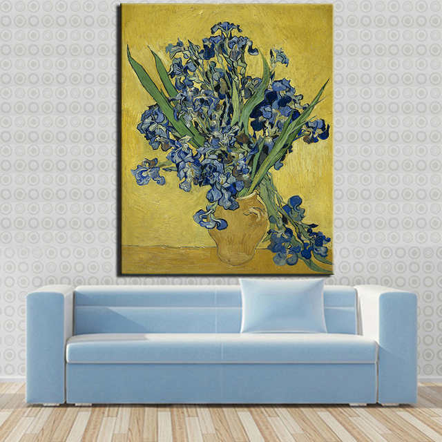 Free shipping Home Printed VASE OF BLUE FLOWER Oil Painting Canvas ...