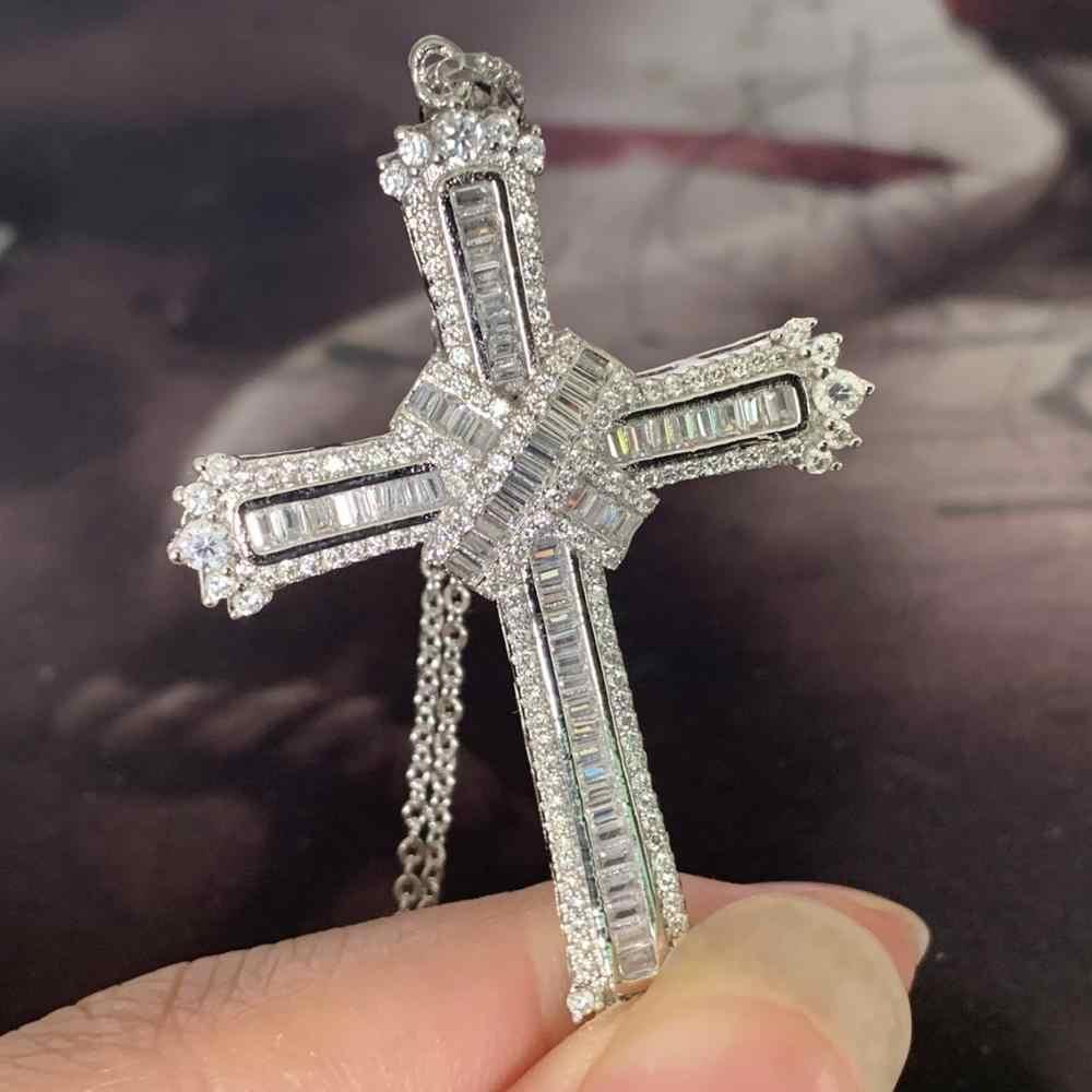 2019 New Arrival najlepiej sprzedający się luksusowe biżuteria krzyż wisiorek 925 Sterling Silver księżniczka Cur biały, przezroczysty, 5A CZ kobiety naszyjnik prezent