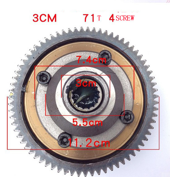 Free shipping 71t 30mm 4hole differential gear motor gear for Freewheel sprocket for electric motor