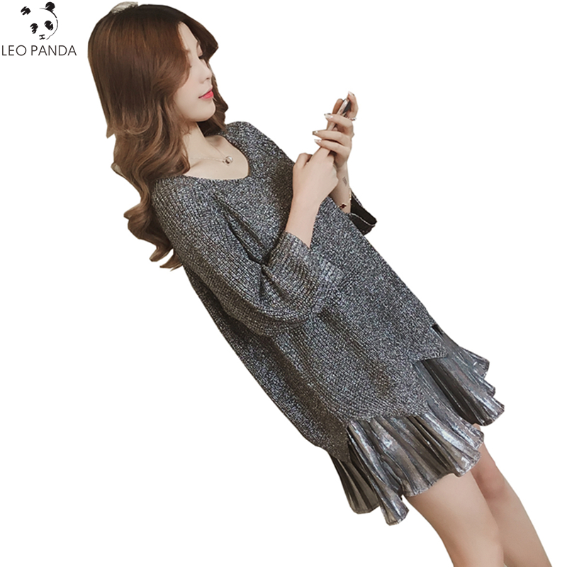 Knitted harness False Two-pieces Suit Female Dress 2018 New Spring Plus size O-Neck Camisole Dresses Loose Fake Two Pieces LX91 plus size double pockets knitted dress