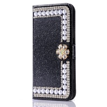 Zamykane błyszczące luksusowe etui z perełkami do Samsunga