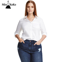 MissKoKo Plus Size Women Clothing Casual Solid Long Sleeve Loose Blouse Slim Pockets Ladies Blouse Shirt Big Size Blouse