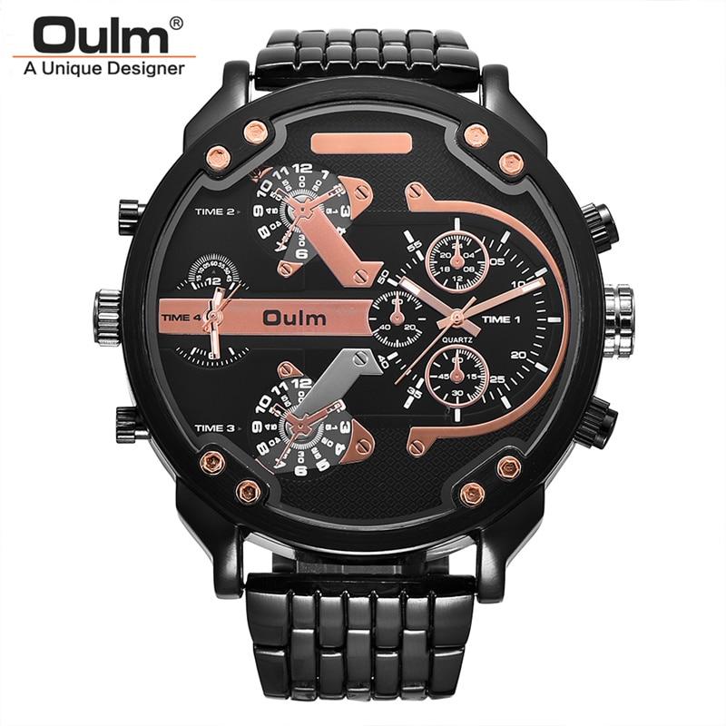 OULM супер большой циферблат Часы Для мужчин Элитный бренд два часовых поясов Военная Униформа часы Мужские кварцевые часы человек Relogio Masculino