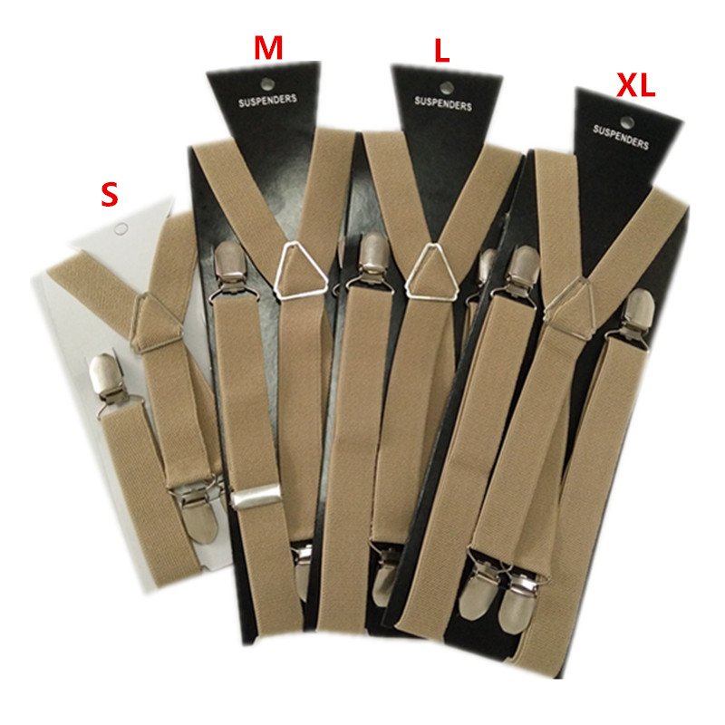 BD002-Light Khaki Tan Braces 4 Clips Men Suspenders 4 Sizes For Boys And Girls Men And Women X-back Suspenders