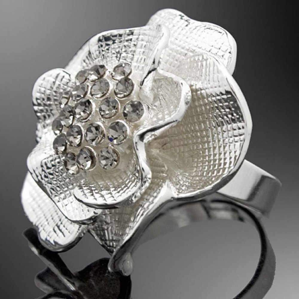 Романтическая трехмерная большая Роза со стразами цветы регулируемое модное кольцо из сплава женские модные ювелирные изделия