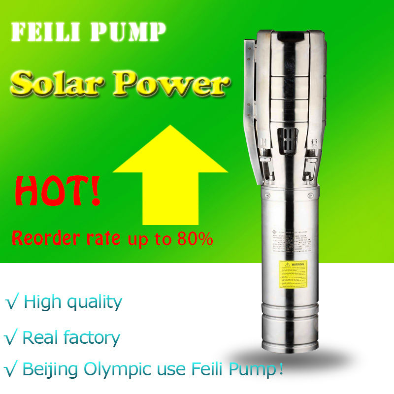 solar powered submersible deep water well pump Beijing Olympic use Feili Pump solar pump exported to 58 countries and beijing olympic use feili pump solar pump for deep well
