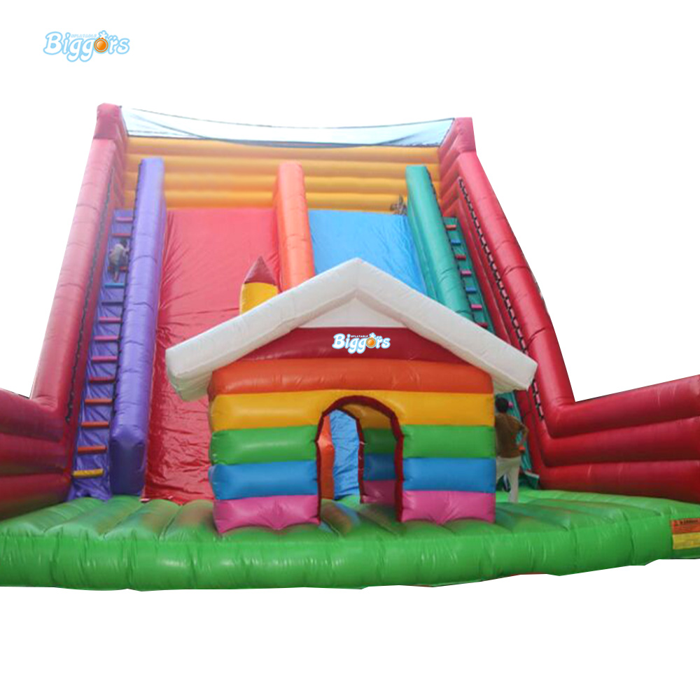 Inflatable Biggors Colorful Rainbow Inflatable Giant Slide 12*4*5m Double Slide For Sale