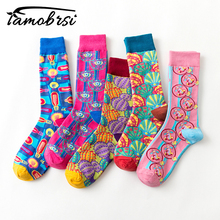 New Europe The United States Tide Brand Women Happy Socks Color Funny Couple Popes Psychedelic Illustration Series Sokken