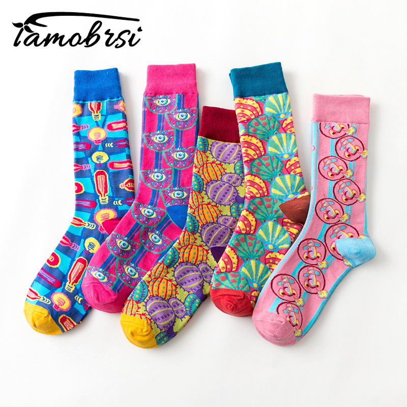 New Europe The United States Tide Brand Women Happy   Socks   Color Funny Couple   Socks   Pope's Psychedelic Illustration Series Sokken