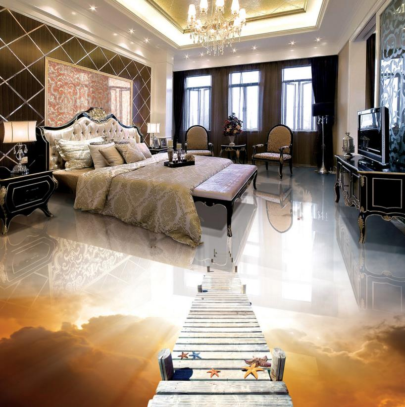 ФОТО Vinyl flooring adhesive custom wooden brige dove 3d wallpaper floor papel de parede 3d