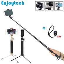 Aluminum Alloy Extendable Selfie Stick with Mini Tripod Foldable Handheld Monopod with Bluetooth Remote for iPhone Xiaomi Phones 3 in 1 mini selfie stick with tripod ball head for gopro bluetooth remote extendable monopod for iphone xiaomi samsung phones