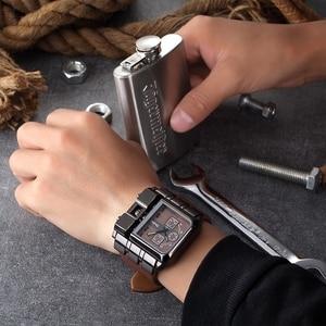 Image 3 - Oulm Mens Wrist Watches Luxury Design Quartz Watch Men Square Dial PU Leather Strap Male Military Antique Clock erkek saat