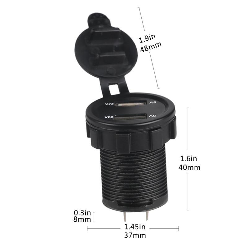 12 v 2.1A Coche Moto Cargador USB Voltímetro Socket Dual USB - Electrónica del Automóvil - foto 6