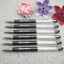 Free customized with LOGO /company Name * Diamond touch pen Crystal pens ballpen Office school Promotion gift