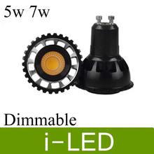 Cob-светодиоды с регулируемой яркостью прожекторы Gu10 MR16 Светодиодные точечные лампы 5 Вт 7 Вт светодиодные лампы 650lm AC85-265V 12 в 30 Угол Теплый Холодный белый UL CE& ROHS