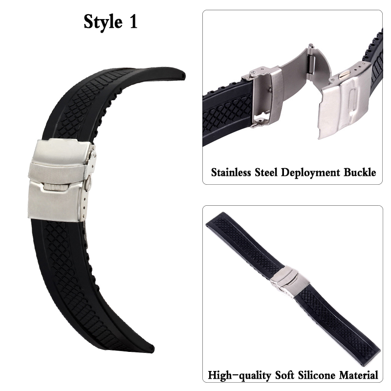 Watches ... Watch Accessories ... 32793220121 ... 2 ... 3Styles Sports Watch Band 20mm 22mm 24mm Soft Silicone Rubber Strap Steel Buckle Bracelet Wrist WatchBand watch accessories ...