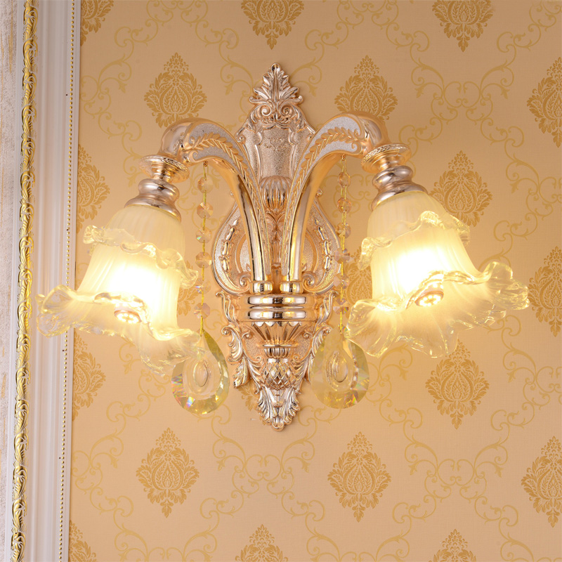 European luxury 1 2 head crystal wall lamp bedroom bedside led creative atmosphere double headed zinc