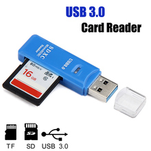 Portable 2 in 1 USB 3.0 5Gbps Super High Speed Micro SD SDXC TF T-Flash Memory Card Reader Adapter for Windows ME 2000 XP Mac OS