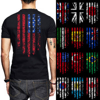 Flag 3D Print Men T Shirt Argentina Korea Canada Brazil Turkey USA Australia Spain Italy Japan