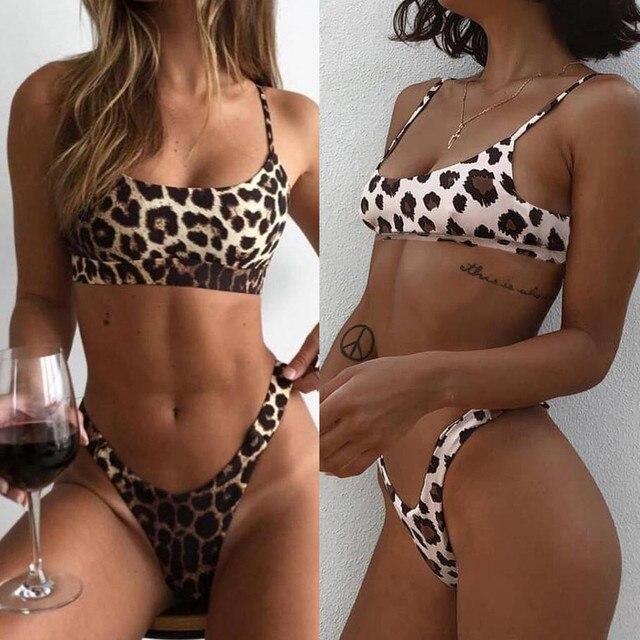 ab53bbaa1465 € 4.61 31% de DESCUENTO|Bikini 2019 Sexy mujer Sexy moda leopardo estampado  push up acolchado sujetador playa Bikini Set traje de baño playa Mujer ...