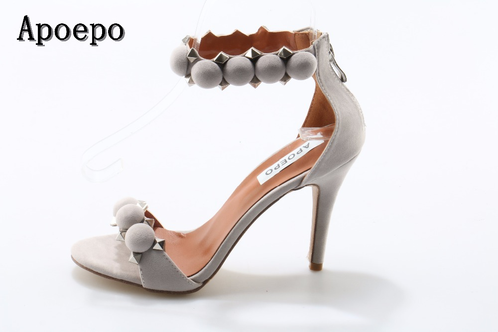 Apoepo Brand Sexy Open Toe Woman Sandal 2017 Summer Ankle Strap High Heel Sandal Rivets Studded