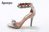 Apoepo Marka Sexy Otwarte Toe Sandały Kobiety 2017 Lato Pasek Stawu Skokowego Nity Studded Szpilki Sandały Cienkie Obcasy Gladiatora Sandał