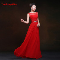 Real Photos Lace Chiffon Evening Dress Robe De Soiree 2017 New Beading Scoop Neck A Line