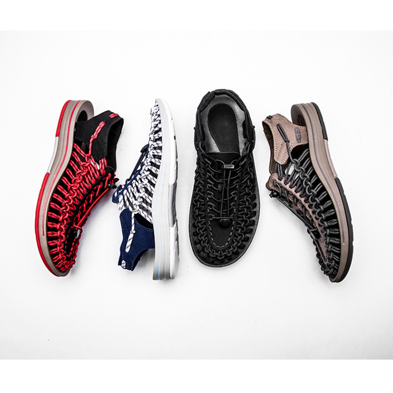 red D'été Chaussures Qualité D'eau Haute Sandales Junjarm Hommes brown De Cuir Mode Tricot blue Daim Plage Weaven Black En tQhrdCoxBs