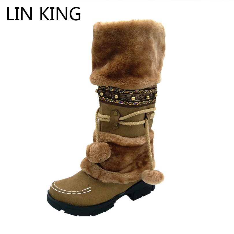 LIN KING New Fashion Autumn Winter Snow Boots Women Warm Flock Lady Boots Casual Tassel Platform Over The Knee Lady Snow Shoes цены онлайн