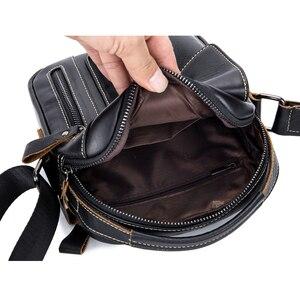 Image 3 - Yeni hakiki deri erkek Crossbody omuzdan askili çanta Vintage inek derisi askılı çanta için erkek küçük gündelik çanta