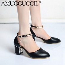 2017 New Plus Big Size 32-42 Black White Pink Buckle Fashion Casual Heel Spring Girls Females Lady Womens Shoes Pumps D1095