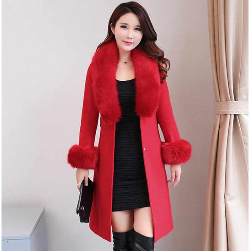 韓国レディース新秋冬ウールジャケットコートプラスサイズ弓ベルト暖かいウール布毛皮の襟女性コート B92