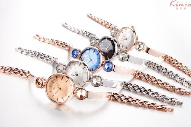 KIMIO Simple Gemini Rhinestones Ladies Watches Top Brand Luxury Women Dress Bracelet Watch Strap Quartz Women's Watch Wristwatch