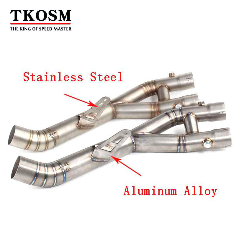 TKOSM YZF R1 Stainless Steel and Aluminum Alloy Mid Pipe Motorbike Motorcycle Middle Link Exhaust Muffler for YAMAHA YZF-R1 2015 gift for baby 1pc 1 12 17cm ducati yamaha yzf r1 cross country motorcycle collection plastic alloy model children boy toy