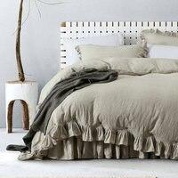 Льняная Классическая гофрированная 100% французский Лен пододеяльник наборы льняных постельного белья 3 шт/партия льняной килт крышка