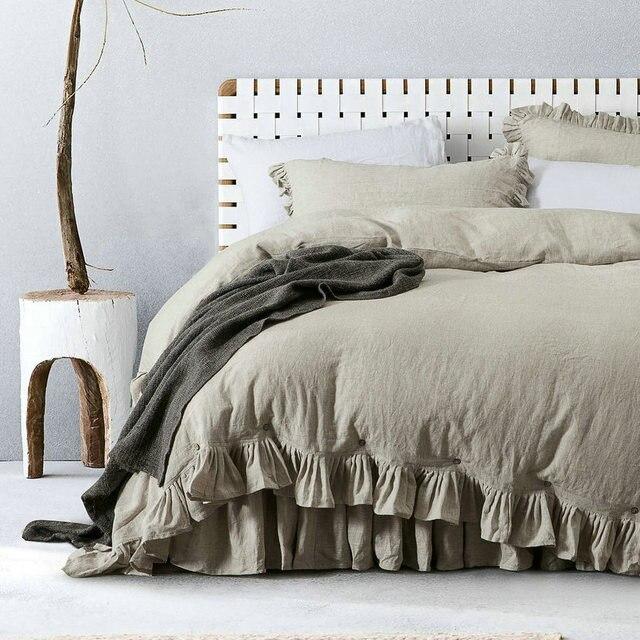 Flax  Classical Ruffled 100% French Linen Duvet Cover  sets Linen Bed sets 3pcs/lot  Linen Quilt cover