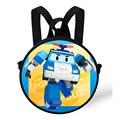 9-Inch симпатичные маленькие круглые мешок для детей Robocar поли рюкзак для детей мальчики дошкольные детские детский сад для девушки рюкзаки