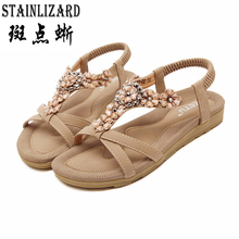 2017 женские сандалии в богемном стиле с цветком летние женские Обувь Slip-On Босоножки на плоской подошве Повседневное Дамская обувь Sandalias Mujer Большие размеры CCDT239
